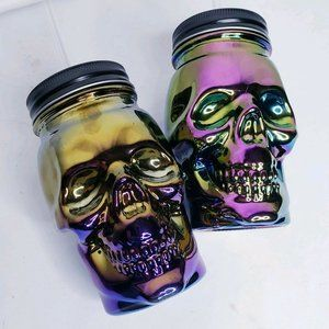 Two Skull Drinking Party Glass Mason Type Jars